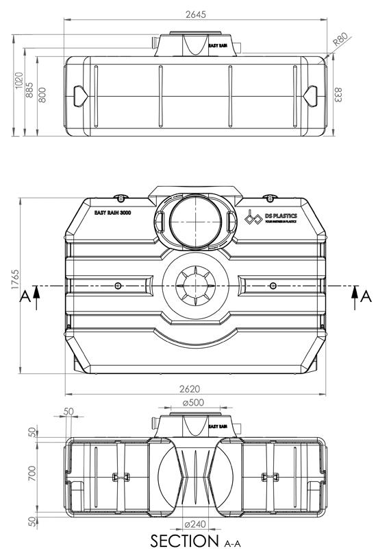 3000 litre Easy-rain tank dimensions